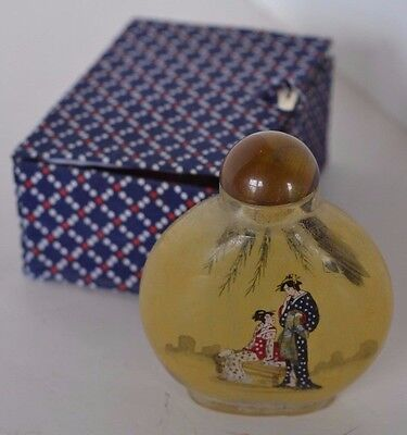 Vintage Snuff Perfume Asian Oriental Bottle In Box Reverse Painted Glass Lady