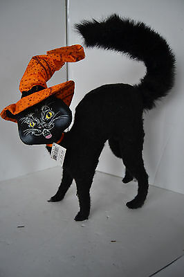 """Halloween SCAREDY CAT 12"""" Witch Hat Bendable Decoration Annalee 2011 Doll"""