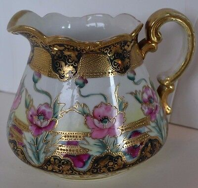 Vintage Moriage Gold Rose Porcelain Nippon Pitcher