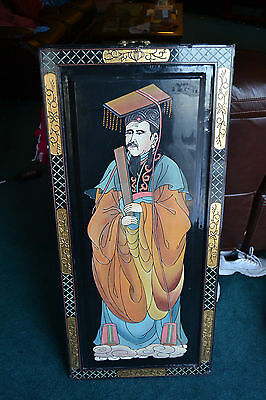 Vintage Black Lacquer Asian Chinese Painting Emperor