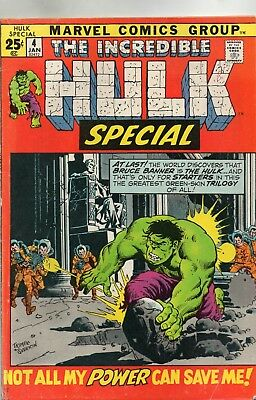 The Incredible Hulk Special # 4 / Fine/fine- /1972 / Lee & Kirby.