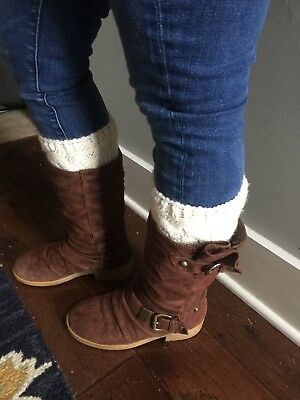NEW Ivory Cable Knit Sweater Boot Cuffs Socks Leg Warmers