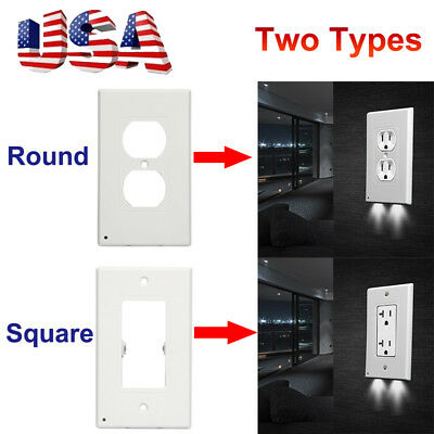 Night Angel Wall Outlet Cover plate With LED Lights Hallway Bathroom US Plug