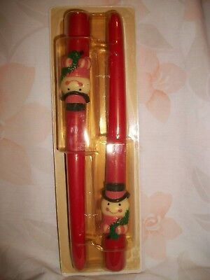 Avon Christmas Snowman Red 10 Inch Taper Candles
