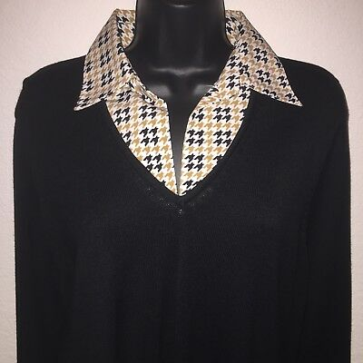 Notations Womens Size 1X Long Sleeve Stretch Knit Sweater Blouse Black 1 Piece