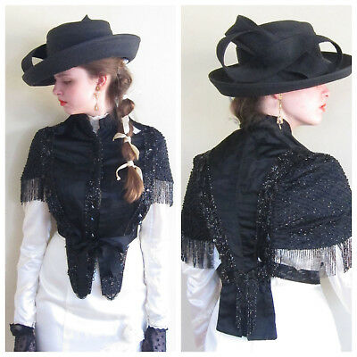 Antique 1800s Victorian Black Silk Beaded Fringe Pelerine Mantlet Jacket Cape