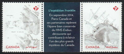 FRANKLIN EXPEDITION =  EREBUS = EMBOSSED Gutter pair w/ French inscr Canada 2015