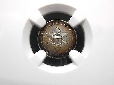 1851 Three Cent Silver 3CS NGC UNC Details TONED  East Coast Coin & Collectables