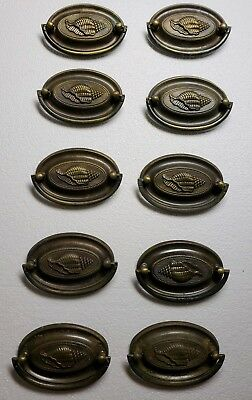 "10 Matching Solid Brass Oval Drawer Pulls 2 5/8"" Center To Center"