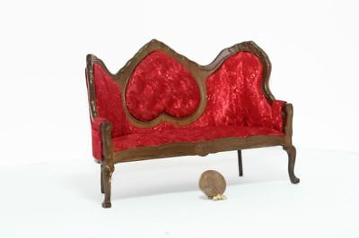 *SALE* Dollhouse Miniature Victorian Mirrorback Sofa in Red Damask