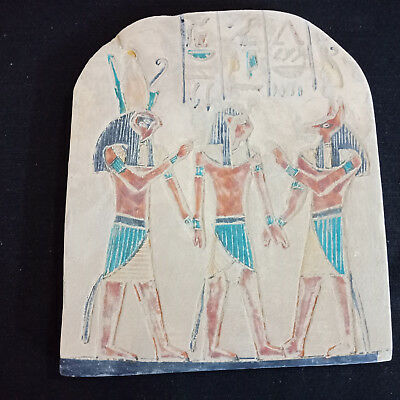 Beautiful Anubis Horus And Khnum Ancient Egyptian Relief Faience Rare Wall Art