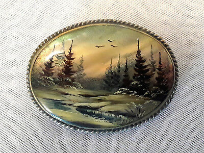 ANTIQUE 1909 FEDOSKINO Russian Hand Painted Mother Of Pearl landscape Brooch Pin