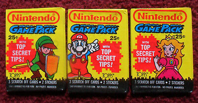 3 Unopened Packs 1989 NINTENDO Game Trading Cards ~ Mario Zelda Princess Peach