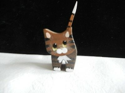 Shy Kitty Wooden Cat Figurine