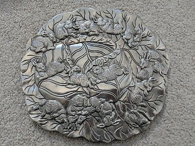 Arthur Court 1990 Playful Bunny Rabbit Aluminum Trivet (#15)