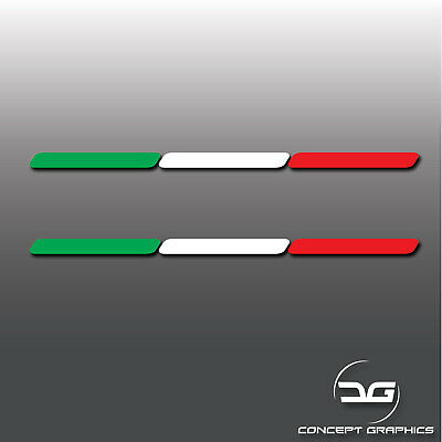 2x Italy Italian Flag Stripe Euro Car Window Bumper Dash Vinyl Decal Stickers