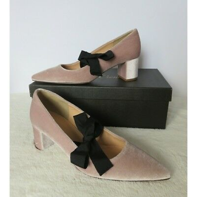 4a99393f577 NWT NIB J. Crew Avery Velvet Retro Party Pumps Stacked Block Heel Pink 8  Charity