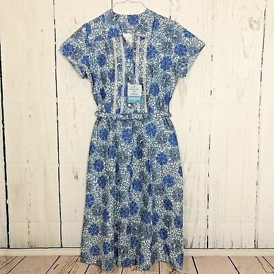 Womens Dress Size 12 Vintage 50's Blue Print Belted New With Tags Made in USA