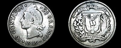 1939 Dominican 10 Centavo World Silver Coin - Dominican Republic
