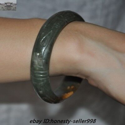 Chinese Dynasty Hetian Old jade Hand-Carving Funerary jewelry Bracelets bangle