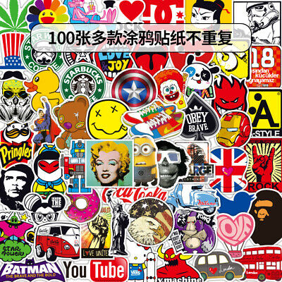 10/50/100 Pcs  Stickers Skateboard Sticker Graffiti Laptop Luggage Car Decals