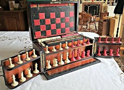 c1880 ROSEWOOD ENGLISH COMPENDIUM GAME BOX with Multiple Games, Lock & Key NR
