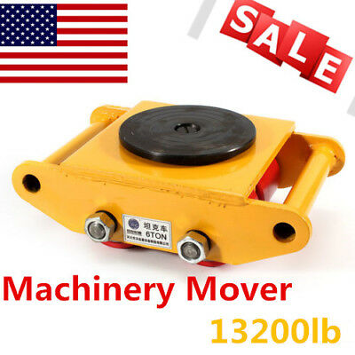 6T Heavy Machine Dolly Skate Roller Machinery Mover Cargo Trolley 13200lb TOP!!