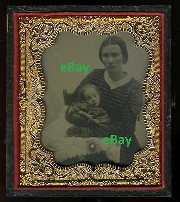 EARLY HAUNTING Post Mortem Ambrotype MOTHER & CHILD ca 1855 Dead Baby Pre-Mortem