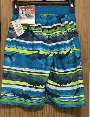 NWT $36-Boys Zeroxposur Black Striped UPV 50 Microfiber Swim Shorts-sz 10//12