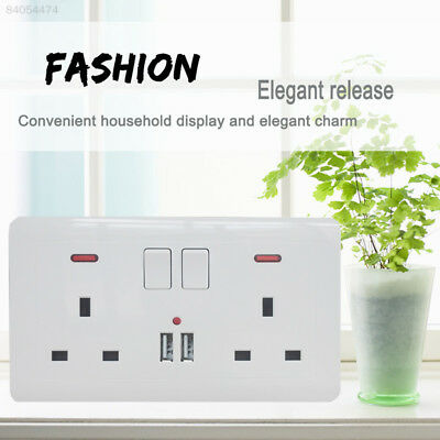 2688 2 Way UK Mains Power Socket 2USB Charging Ports Connection Wall Plate Plug