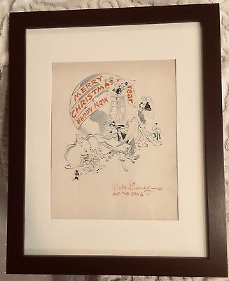 Excellent Unused 1941 Mickey Mouse Disney Studio Christmas Card Framed Unfolded