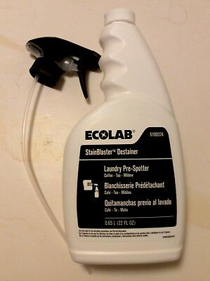 New & Fresh. Ecolab #6100374 Laundry Pre-Spotter. One 32 Ounce Spray Bottle.