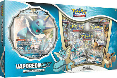 Vaporeon GX Special Collection Box Pokemon TCG 5 Booster Packs + Promos