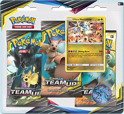 Pokemon TCG Team Up Blister Pack Ultra Necrozma Promo 3 Booster Packs