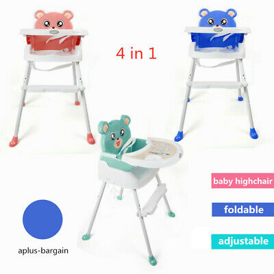 4-in-1 Baby Highchair Infant High Feeding Seat Toddler Table Chair Portable NEW!
