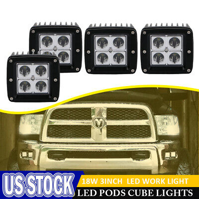 4X 3INCH 16W Square Cube Pods Spot LED Work Light Bumper OffRoad SUV Fog Lamp