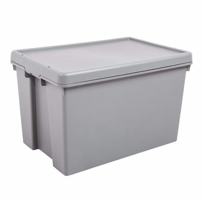 5 Pack Heavy Duty 45 Liter Up-cycled Wham Plastic Storage Box & Lid in Grey