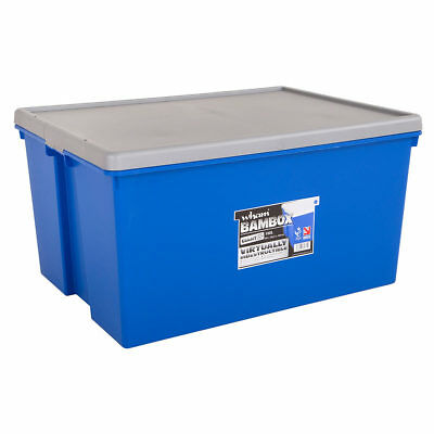 2 Pack Heavy Duty 150 Liter Stackable Plastic Storage Box & Lid in Blue/Silver