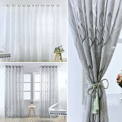 1/2PCS White Leaves Pattern Voile Panel Net Curtain Window Curtains Home Decor