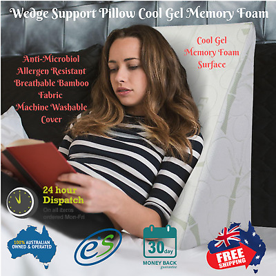 Cool Gel Memory Foam Wedge Support Pillow Washable Bamboo Breath Fabric Cover