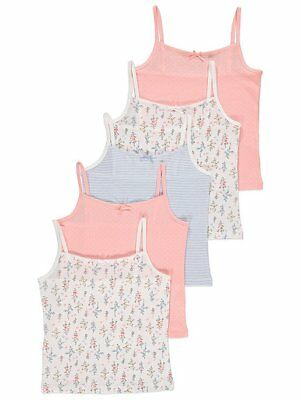 Girls Cami Vests Pastel Colours Tops Flowers,5 Pack Ages 1 - 14 Years