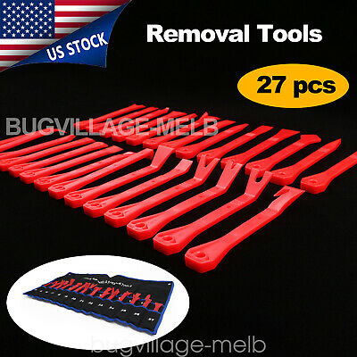27Pcs Red Car Auto Console Dashboard Door Panel Trim Removal Tools Kit Clip Set
