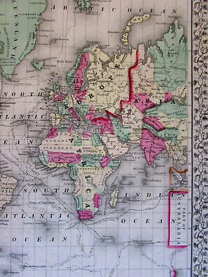 Mitchell 1867 antique World map Australia Lake Torrens hook Cooks ocean tracks