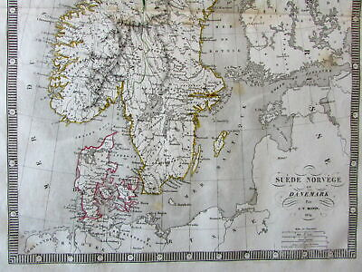 Scandinavia Denmark Norway Sweden Iceland inset 1834 Monin old engraved map