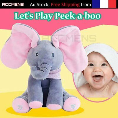 Peek-a-boo Singing Elephant Plush Doll Flappy Ears Animated Kids Toys Soft CuMI