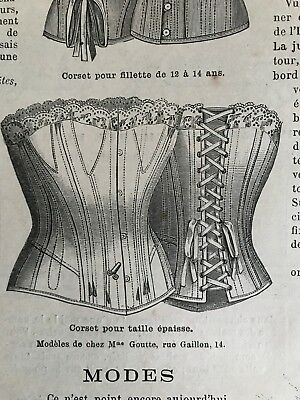 French MODE ILLUSTREE SEWING PATTERN Oct 5,1890 CORSETS