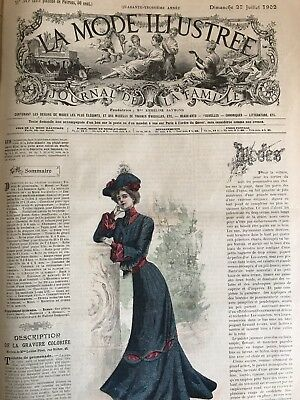 French MODE ILLUSTREE SEWING PATTERN July 27,1902 MOURNING DRESS ,COSTUME CHASSE