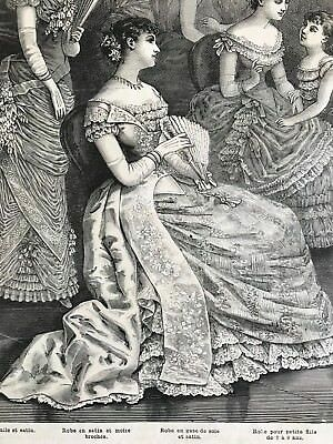 MODE ILLUSTREE SEWING PATTERN Jan 21,1883 - BALL GOWNS, MARQUISE POMPADOUR
