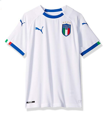 216139aa73f PUMA Boys' Big FIGC Italia Kids Replica Jersey, Away White Team Power Blue,