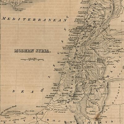 Modern Syria Cyprus Holy Land Palestine1850 Pashalic of Tripoli engraved old map